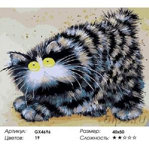 Количество красок и сложность Озорной кот (художник Kim Haskins) Раскраска картина по номерам акриловыми красками на холсте