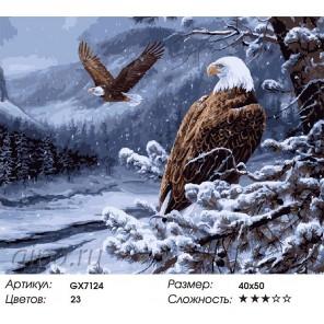 Количество цветов и сложность Гордые птицы Раскраска картина по номерам акриловыми красками на холсте