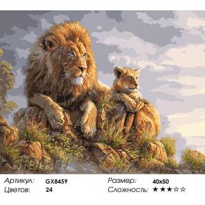 Король Лев и львёнок Раскраска картина по номерам акриловыми красками на холсте