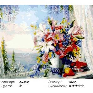 Лилии на окне Раскраска картина по номерам акриловыми красками на холсте