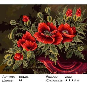 Количество и сложность Чудесные маки Раскраска картина по номерам акриловыми красками на холсте