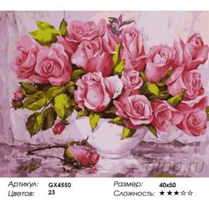 Количество и сложность Нежные розовые розы Раскраска картина по номерам акриловыми красками на холсте