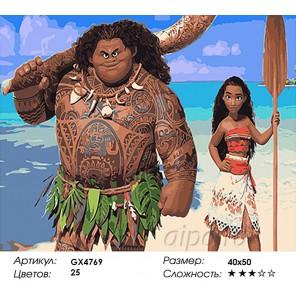 Количество и сложность Моана и Мауи Раскраска картина по номерам акриловыми красками на холсте