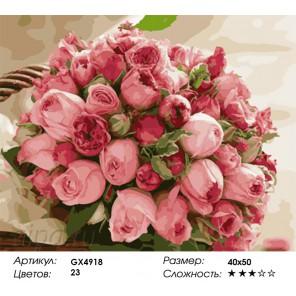 Количество и сложность Букет роз Раскраска картина по номерам акриловыми красками на холсте