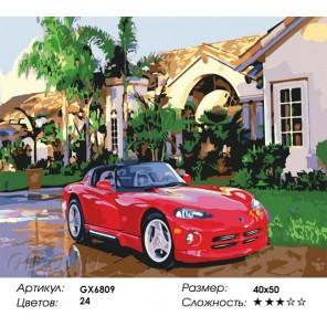 Количество и сложность Красный кабриолет Раскраска картина по номерам акриловыми красками на холсте