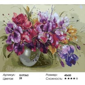 Ирисы в вазе Раскраска картина по номерам на холсте