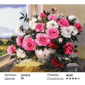 Количество и сложность Пионы у окна Раскраска картина по номерам акриловыми красками на холсте