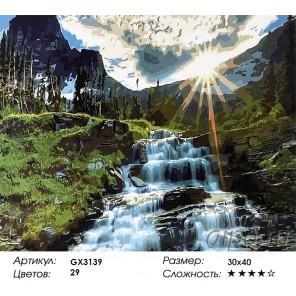 Количество и сложность Горный водопад Раскраска картина по номерам акриловыми красками на холсте