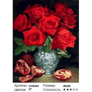 Гранат и розы Раскраска картина по номерам на холсте