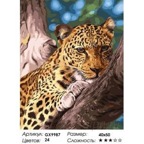 Мечтающий леопард Раскраска картина по номерам акриловыми красками на холсте
