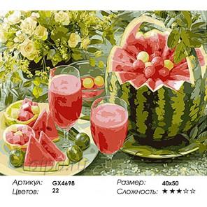 Количество цветов и сложность Арбузный нектар Раскраска картина по номерам акриловыми красками на холсте