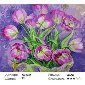 Количество цветов и сложность Изящные тюльпаны Раскраска картина по номерам акриловыми красками на холсте