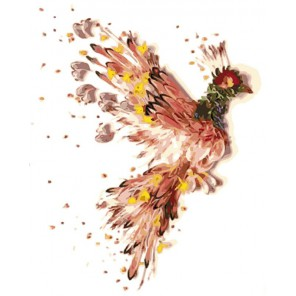 Птица счастья Раскраска картина по номерам акриловыми красками на холсте Mengle