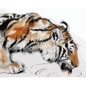 Тигр на водопое Раскраска картина по номерам акриловыми красками на холсте Menglei