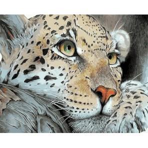 Смелый леопард Раскраска картина по номерам акриловыми красками на холсте Menglei