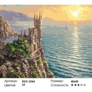 Количество цветов и сложность Ласточкино гнездо Раскраска картина по номерам акриловыми красками на холсте