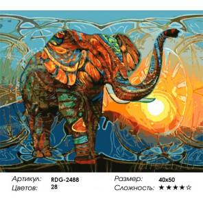 Количество цветов и сложность Радужный слон Раскраска картина по номерам акриловыми красками на холсте