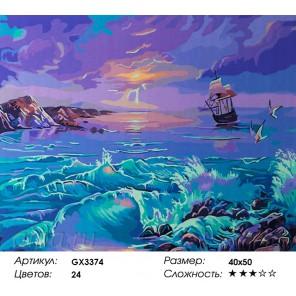 Парус одинокий Раскраска картина по номерам на холсте