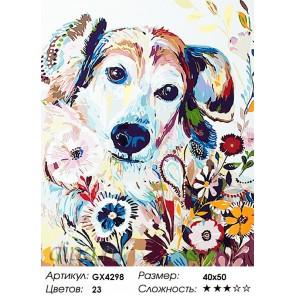 Цветная собака Раскраска картина по номерам на холсте