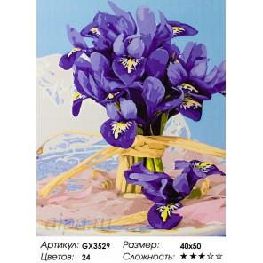 Количество цветов и сложность Букет ирисов Раскраска картина по номерам акриловыми красками на холсте