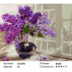 Количество цветов и сложность Букет сирени в темной вазе Раскраска картина по номерам акриловыми красками на холсте