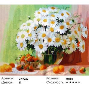 Ромашки и ягодки Раскраска картина по номерам на холсте