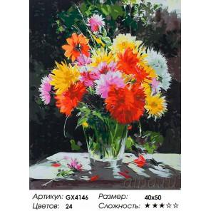 Количество цветов и сложность Солнечный букет хризантем Раскраска картина по номерам акриловыми красками на холсте