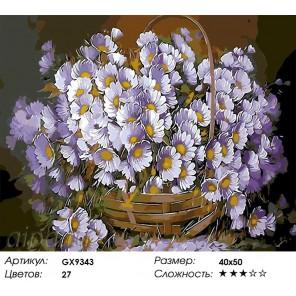 Количество цветов и сложность Корзинка сиреневых ромашек Раскраска картина по номерам акриловыми красками на холсте