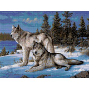 Волки в лесу Алмазная мозаика на твердой основе Iteso