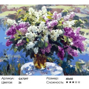 Количество цветов и сложность Букет венгерской сирени Раскраска картина по номерам акриловыми красками на холсте