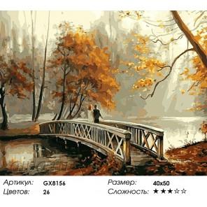 Пара в осеннем парке Раскраска картина по номерам на холсте