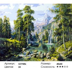 Высокие сосны Раскраска картина по номерам акриловыми красками на холсте