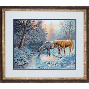 Морозное утро и лошади Набор для вышивания Счетный крест Dimensions