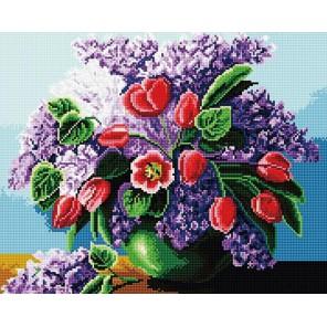 Сирень с тюльпанами Алмазная мозаика вышивка на подрамнике Molly