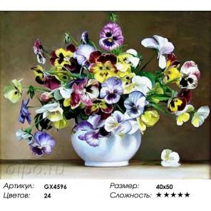 Количество цветов и сложность Букетик анютиных глазок Раскраска картина по номерам акриловыми красками на холсте Molly