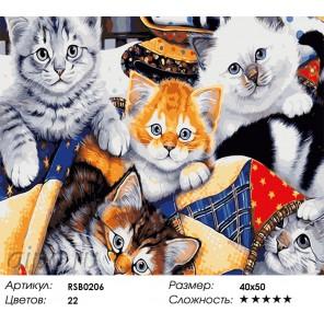 Количество цветов и сложность Котята в ласкутном одеяле Раскраска картина по номерам акриловыми красками на холсте