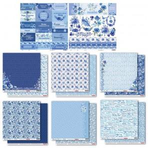 Ноктюрн в голубых тонах 8 листов Набор бумаги  для скрапбукинга, кардмейкинга ScrapBerrys
