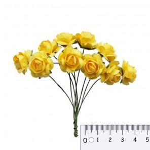 Букетик роз желтый Цветы бумажные для скрапбукинга, кардмейкинга Scrapberry's