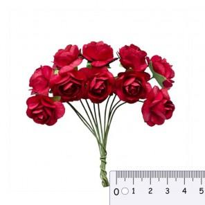 Букетик роз красный  Цветы бумажные для скрапбукинга, кардмейкинга Scrapberry's