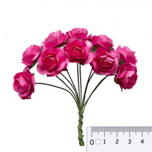 Букетик роз цвета фуксии Цветы бумажные для скрапбукинга, кардмейкинга Scrapberry's