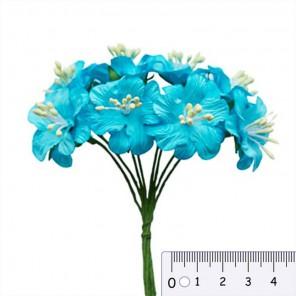 Букетик цветов гибискуса голубой Цветы бумажные для скрапбукинга, кардмейкинга Scrapberry's