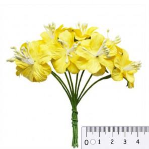 Букетик цветов гибискуса желтый Цветы бумажные для скрапбукинга, кардмейкинга Scrapberry's