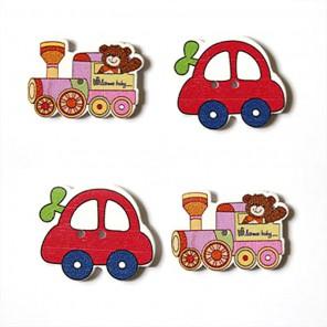 Машинка и паровоз Набор деревянных пуговиц Scrapberry's