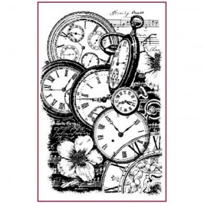 Часы и цветы Штамп на резиновой основе для скрапбукинга, кардмейкинга Stamperia