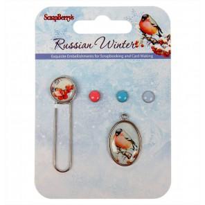 Русская Зима Набор декоративных брадсов со скрепкой Scrapberrys