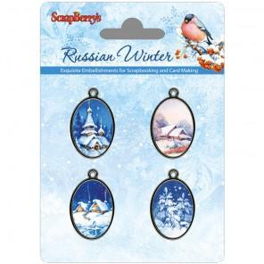 Рождественская ночь Русская зима Набор металлических подвесок с эпоксидными изображениями ScrapBerry's