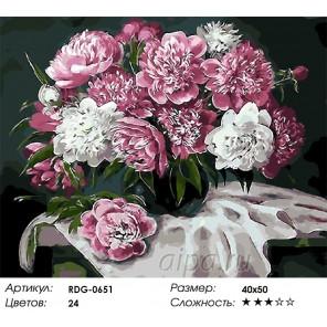 Вишневые пионы Раскраска картина по номерам акриловыми красками на холсте