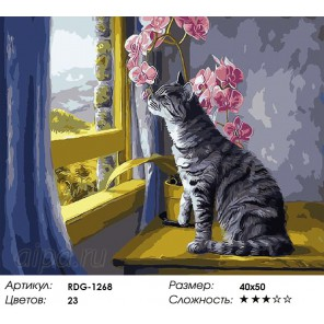 Количество цветов и сложность Кошка на окошке Раскраска картина по номерам акриловыми красками на холсте