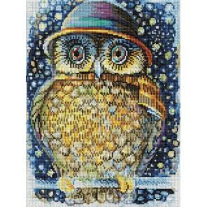 Сова в шляпе Алмазная вышивка мозаика на подрамнике Белоснежка