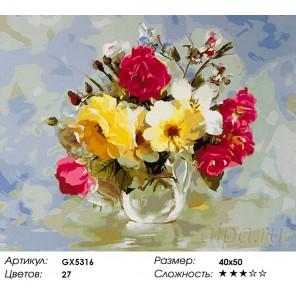 Количество цветов и сложность Розы и душистый горошек Раскраска картина по номерам акриловыми красками на холсте